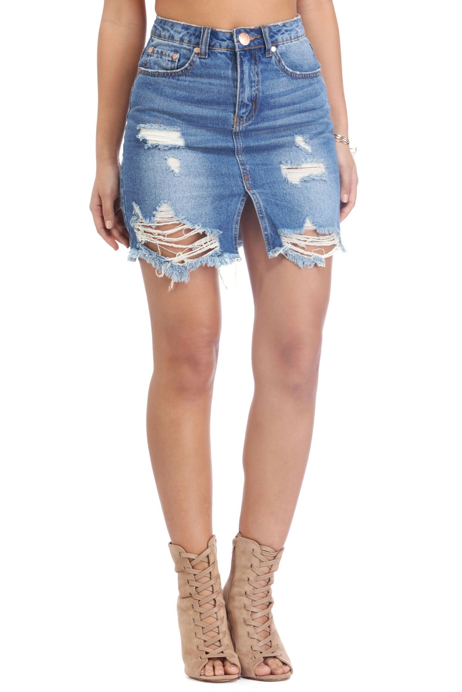 Denim Own It Destructed Skirt