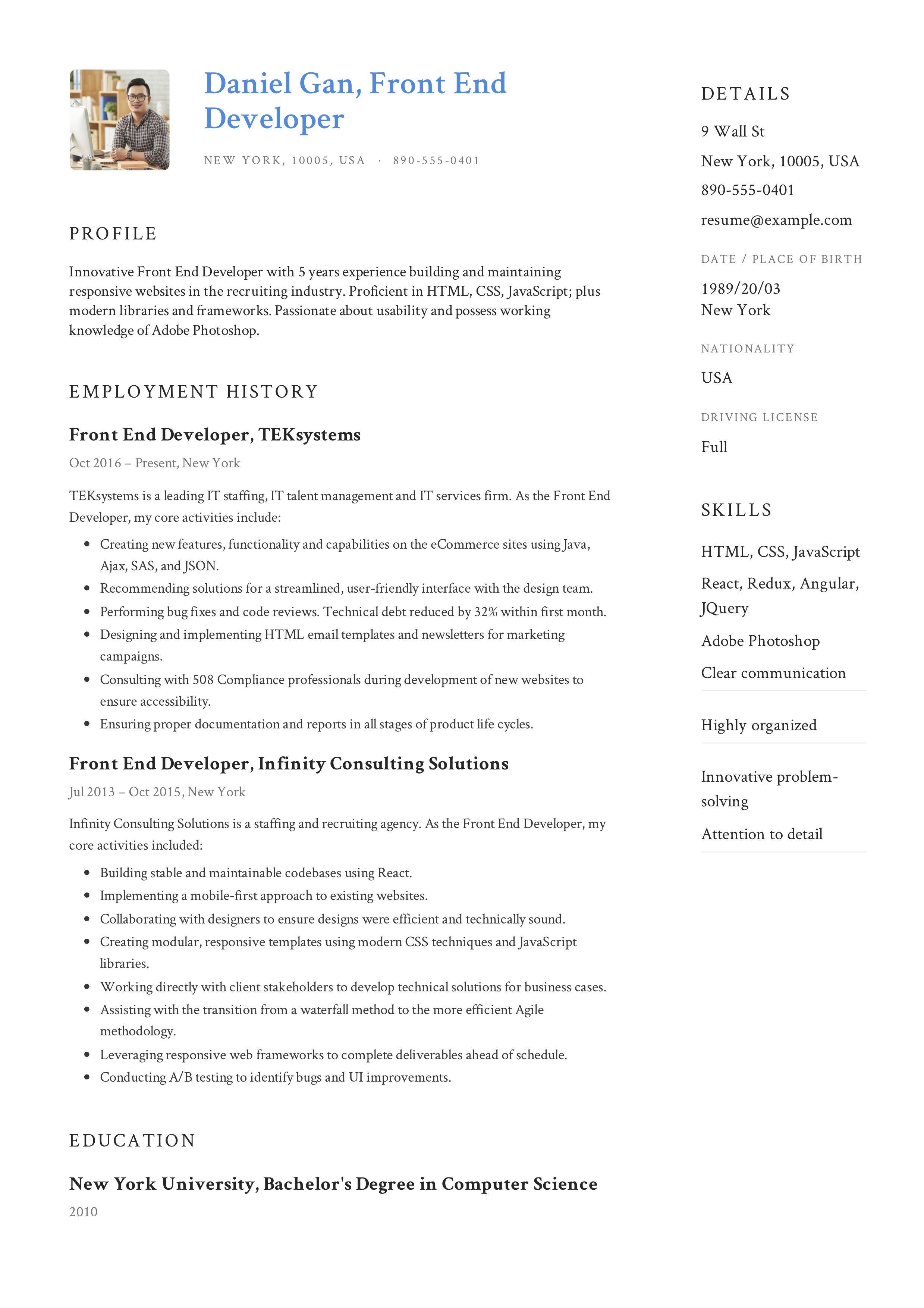 Front End Developer Resume Example Resume Examples Resume Objective Examples Resume