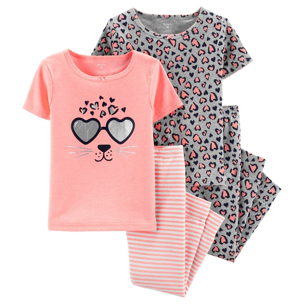 Carters Baby Girl Navy Blue// White Hearts Two Piece Pajama Set size 24 Months
