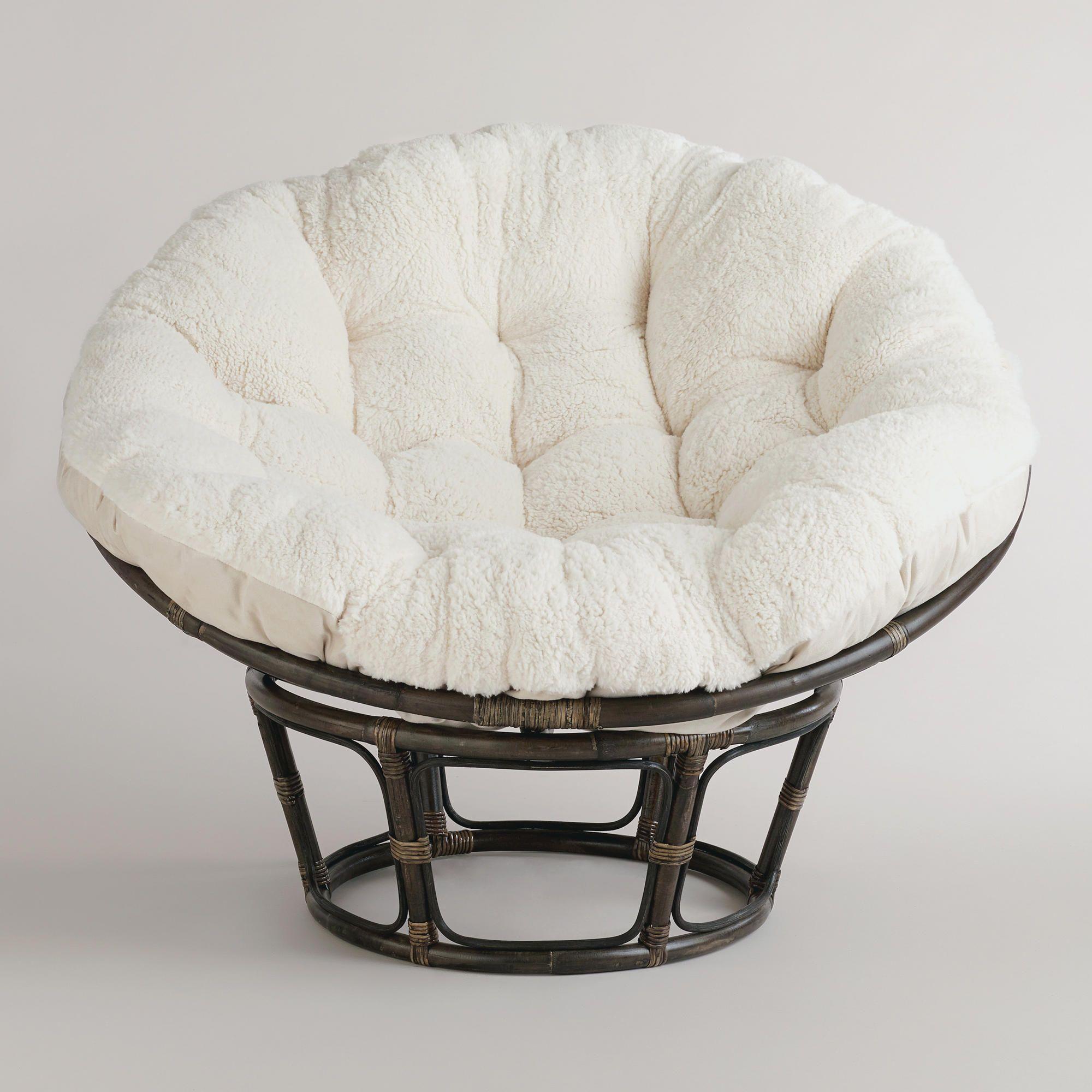 Ivory Faux Fur Papasan Cushion White by World Market