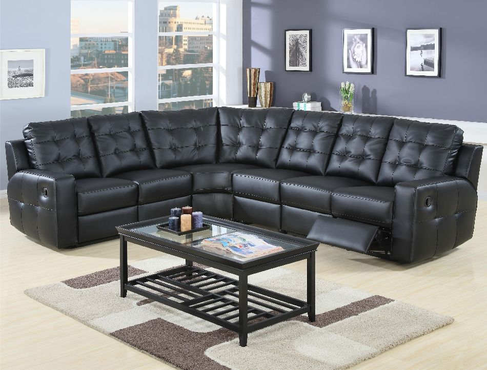 Coaster Tempe Extra Long Reclining Sectional Sofa - Black Leather