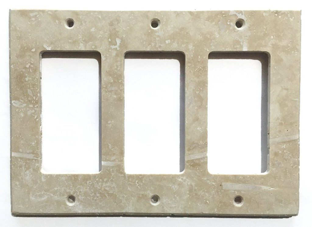 Ivory Travertine Triple Rocker Switch Wall Plate Cover Honed