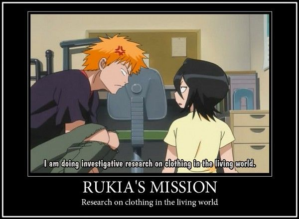 Basically that's all I do with my free time, too, Rukia. It's a girl thing. Get used to it.