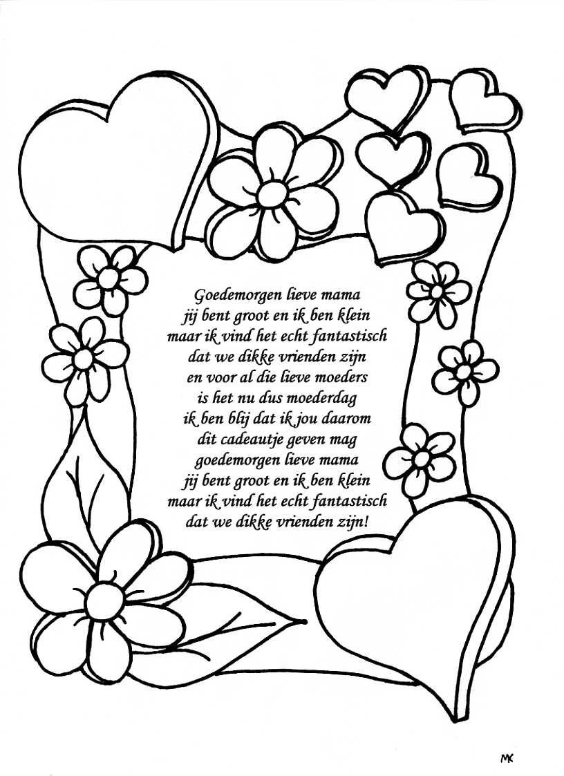 Pin By Dorien Van Den Bossche On Thema Moederdag Cute Coloring Pages Mother S Day Diy Mothers Day Poems