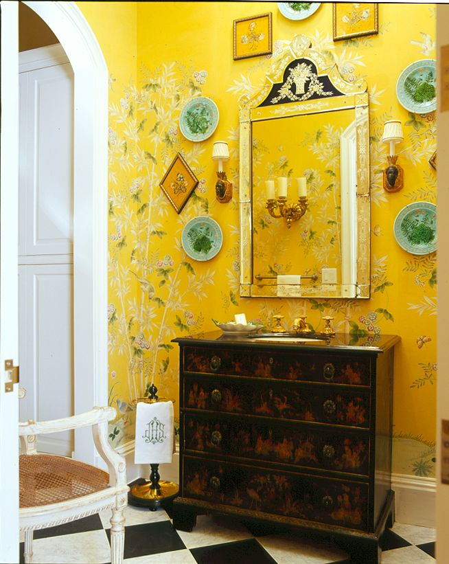 Canary yellow hand painted walls, majolica plates, sconces, painted ...