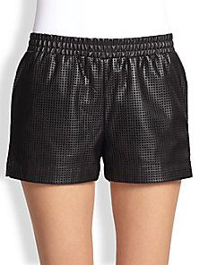 BCBGMAXAZRIA - Perforated Faux Leather Shorts