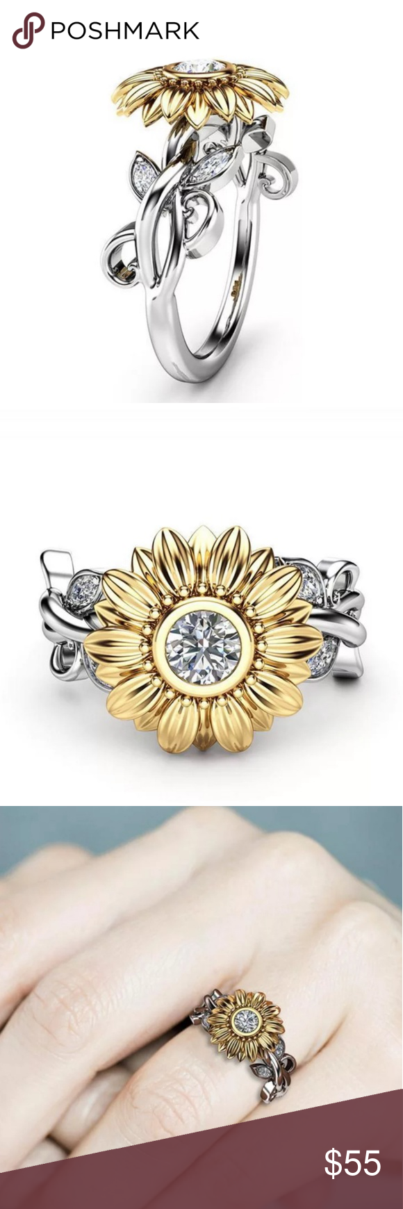 Exquisite Silver Crystal Sunflower Statement Ring