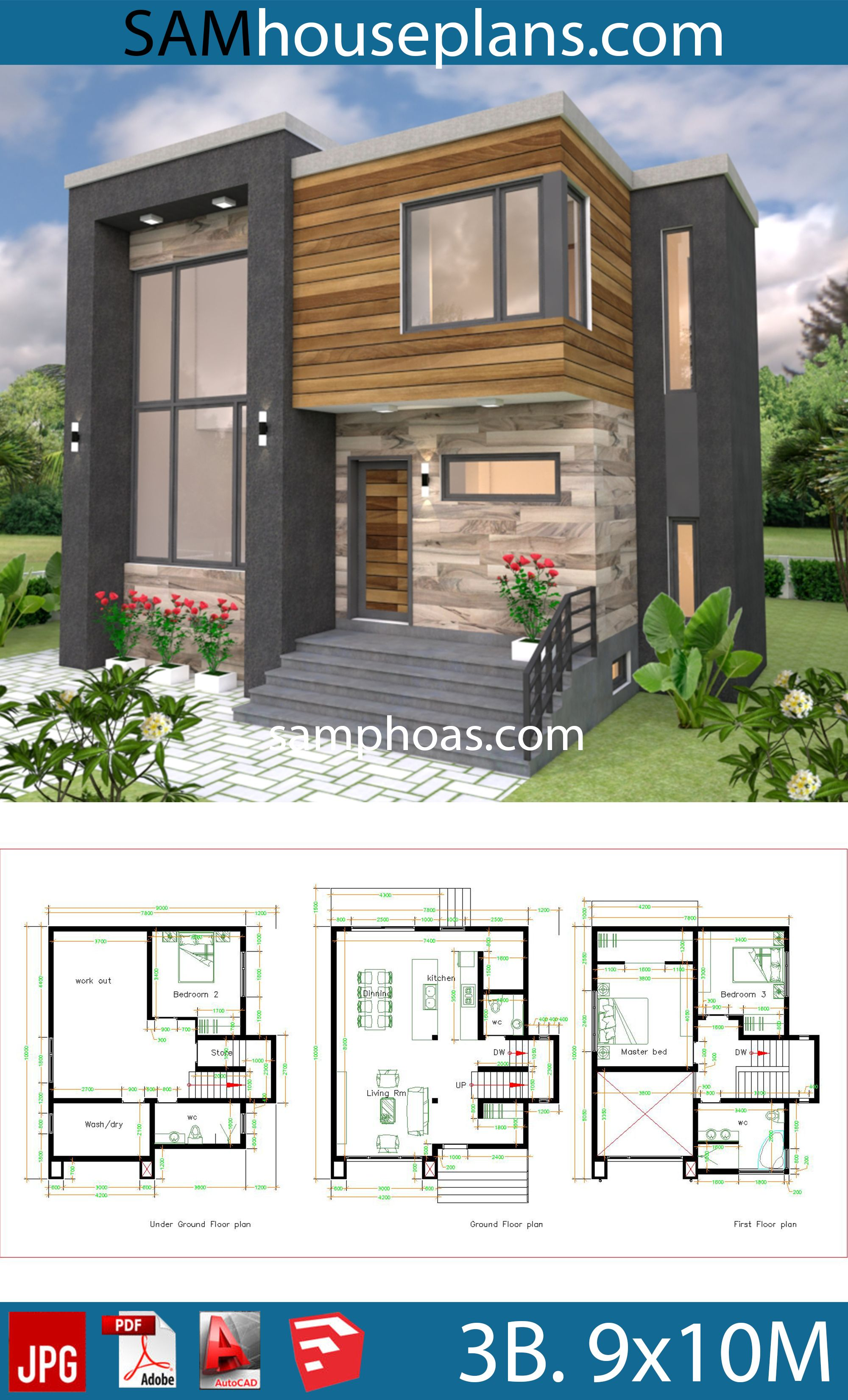 House Plans 9x10m With 3 Bedrooms House Plans Free Downloads Small Modern House Plans Contemporary House Plans Small Modern Home