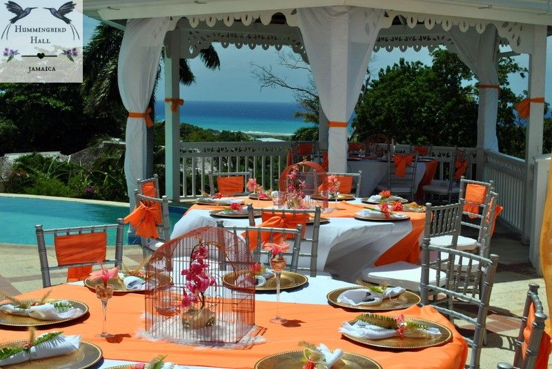 Tropical Birdcage Jamaica Destination Wedding Tablescape At Award Winning All Inclusive Montego Bay