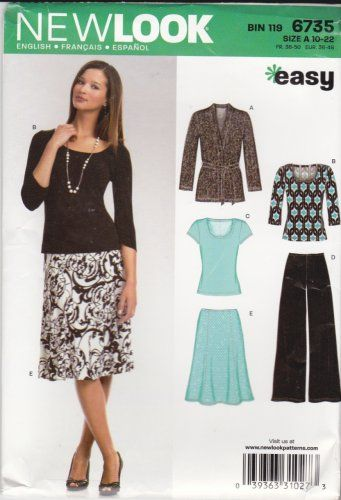 New Look Sewing Pattern 6735 Misses Size 10 22 Easy Knit Wardrobe