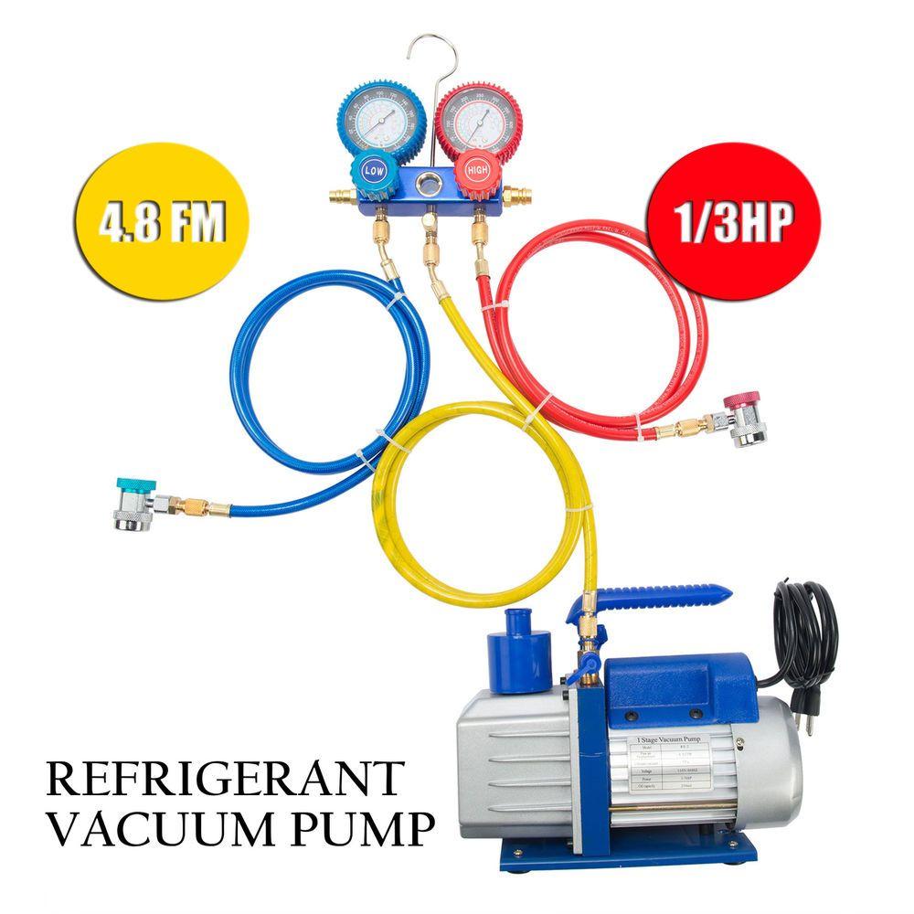 R410a R134a R22 48 Cfm Vacuum Pump Hvac A C Refrigerant 4 Valve Diagram Or Only The Manifold Gauge Ebay Link