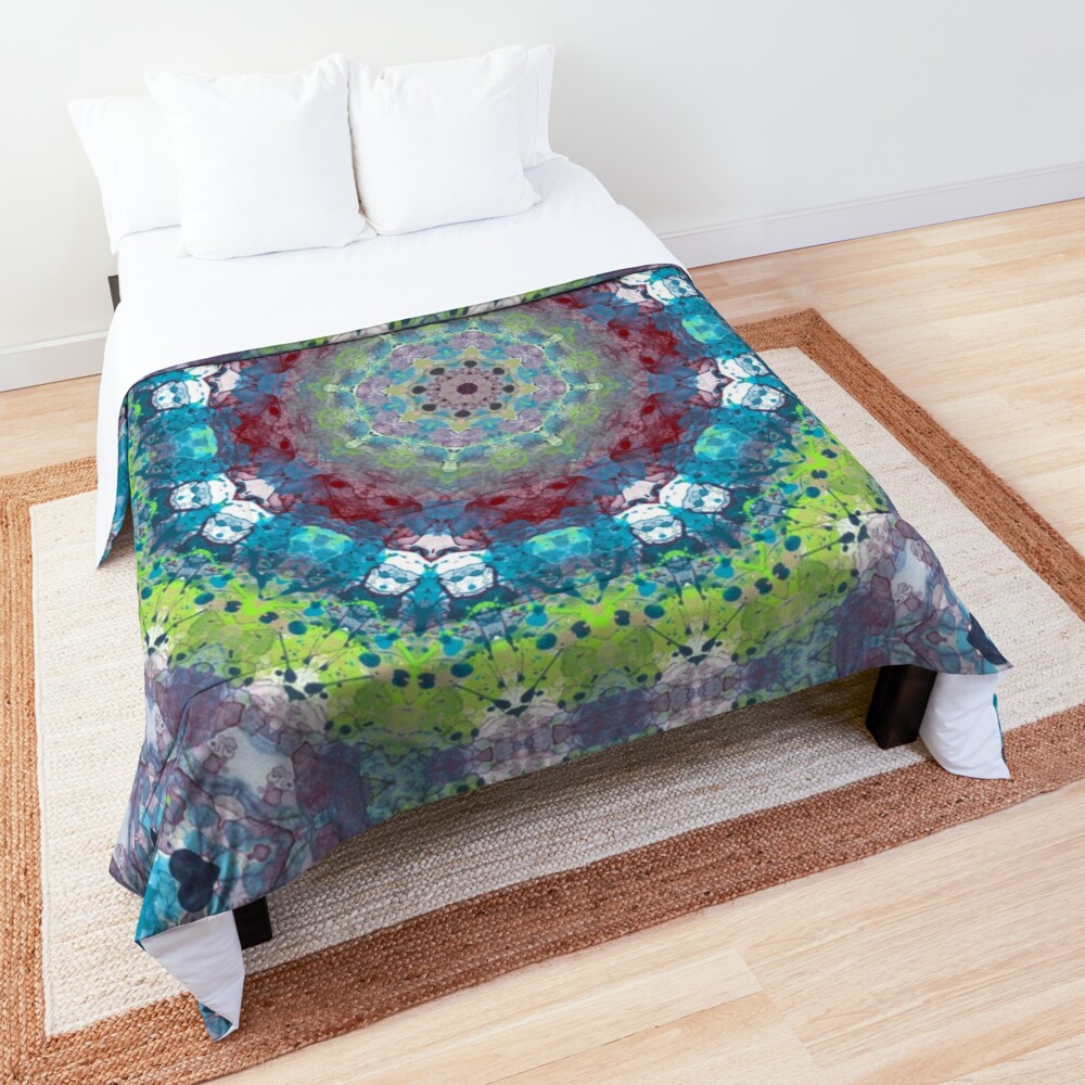 Beautiful Colorful Mandala Art Comforter By Barabolka In 2020 Mandala Coloring Mandala Art Comforters