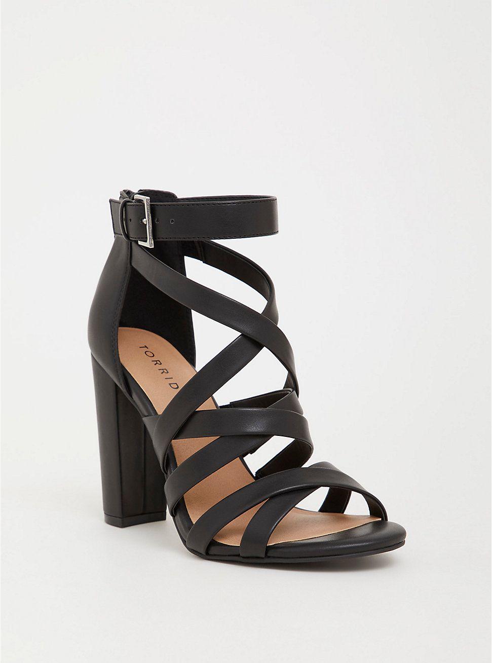 Black Faux Leather Strappy Heel (Wide
