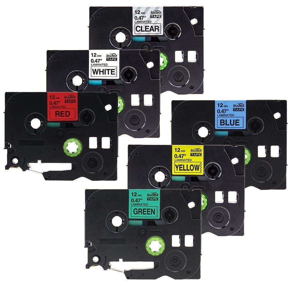Kodex Laminated Label Tape Tze131 Tze231 Tze431 Tze531 Tze631 Tze731 Compatible For Brother P Touch 0 47 Inch X 26 2 Fe Label Maker Tape Laminate Label Machine