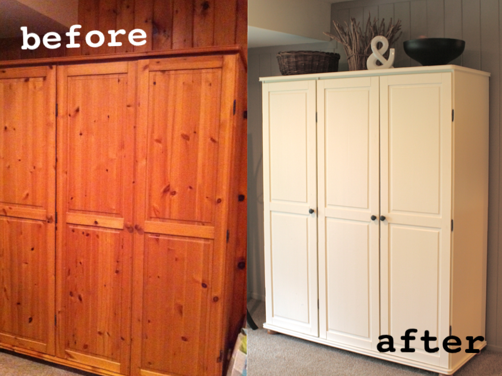 Pine Wardrobe And Drawers Upcycled Using 2 Coats Of Wood Primer Dulux Emulsion In White Chiffon S Replaced With Funky Coloured One