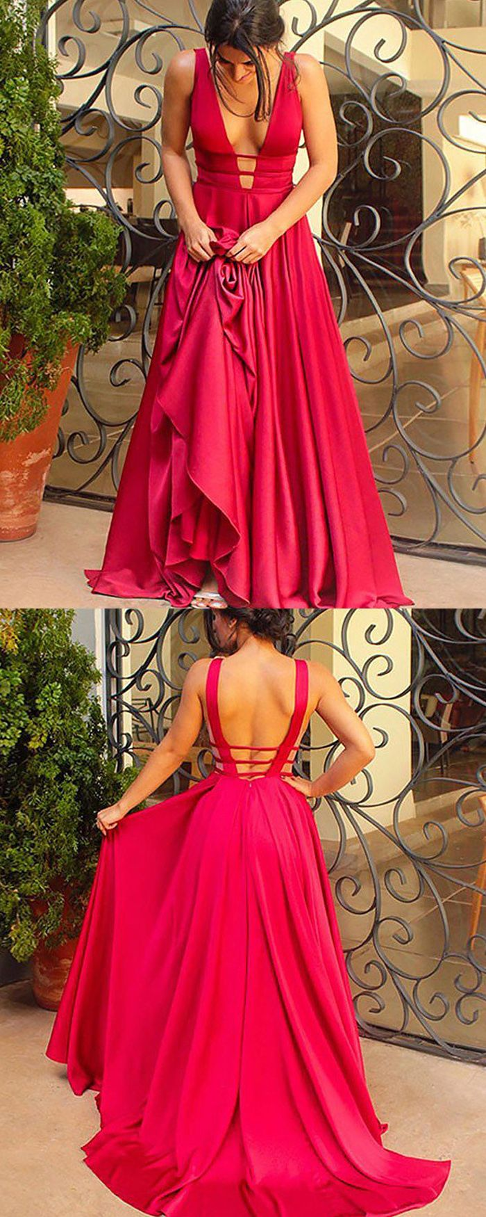 Simple deep vneck cutout satin aline long prom dress pm prom