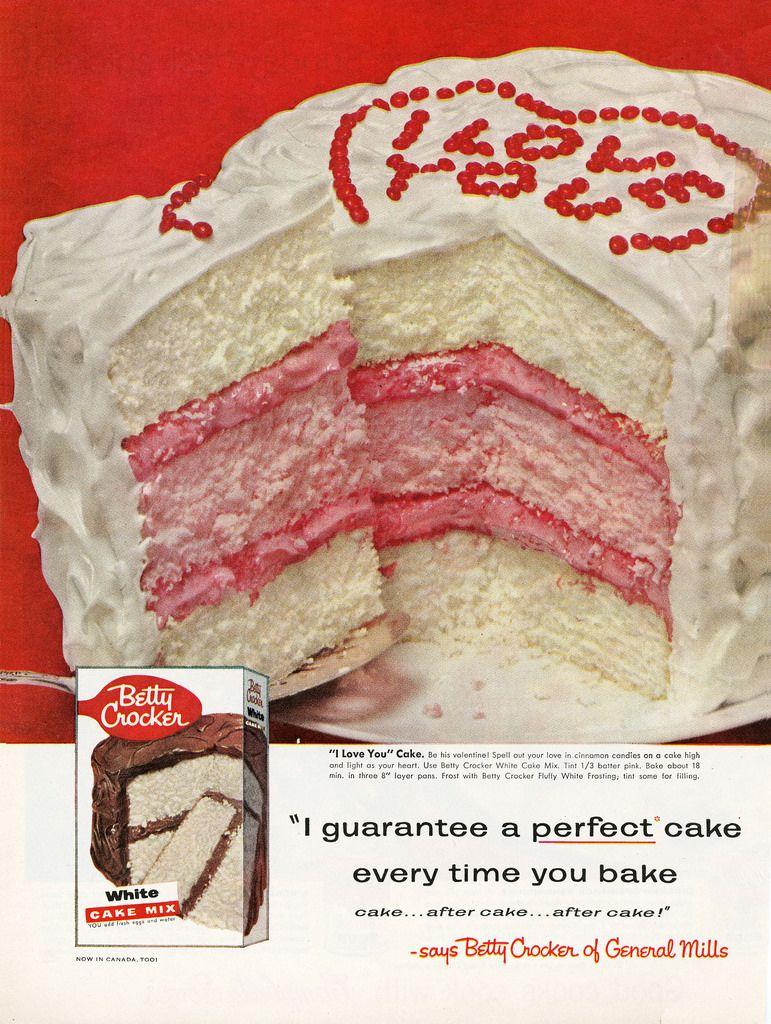 Betty Crocker Valentine S Cake With Images Vintage Baking