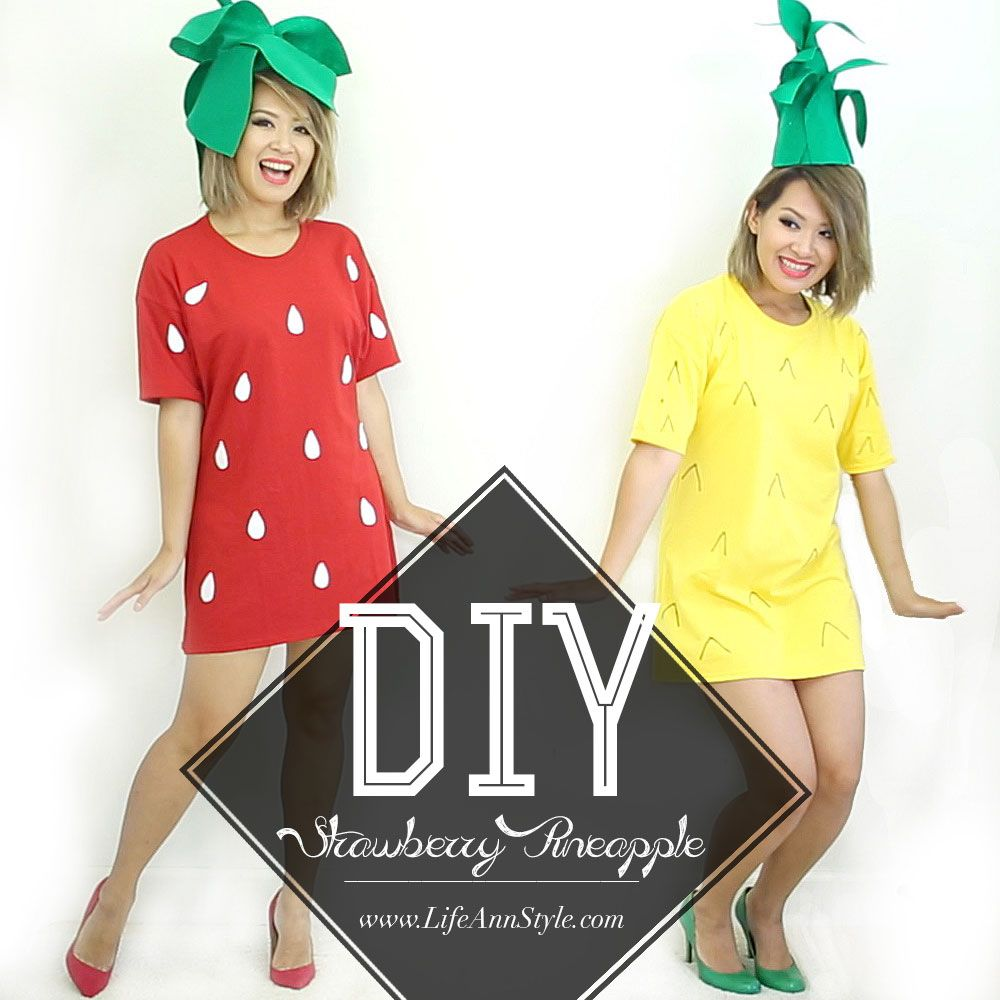 Diy strawberry pineapple girl halloween costume ann le style life pinterest halloween - Costume halloween fille ...