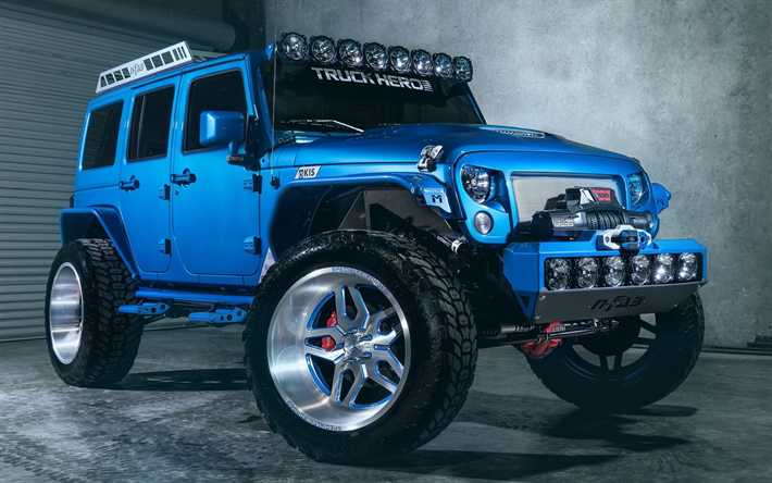 Download Wallpapers Jeep Wrangler Tuning 2017 Cars 4x4 Suvs Blue Wrangler Usa Jeep Besthqwallpapers Com Jeep Jeep Cars Jeep Wrangler Unlimited
