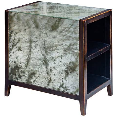 Uttermost Tierney Worn Black Mahogany Mirrored End Table - #9W153 | Lamps Plus