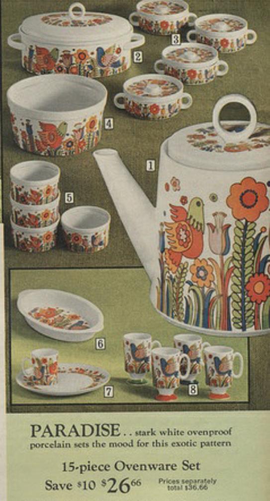 Mod vintage Sears dishes, 1971. Paradise porcelain dinnerware ...