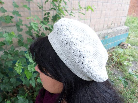 beret crocheted in  boho style  for autumngrey by LenaKom on Etsy