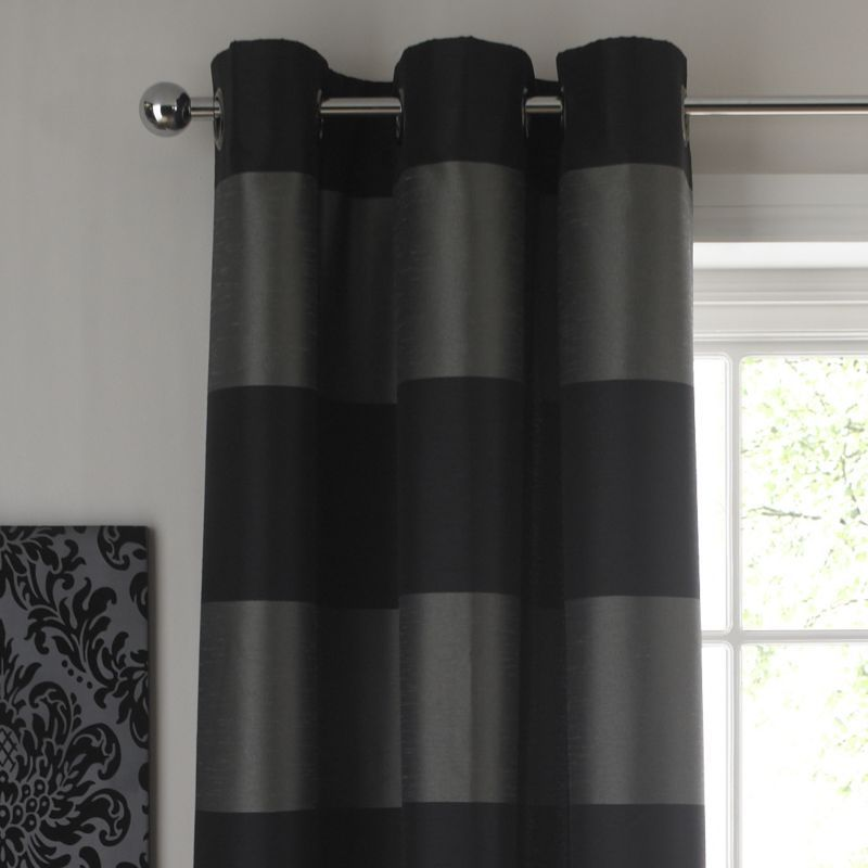 Style For Paris 39 Room Colours By B Amelie Cross Stripe Eyelet Curtains Black Silver Effect W