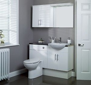 Bathroom Furniture In Gloss White Complete With Wc Ceramic Basin Ebay