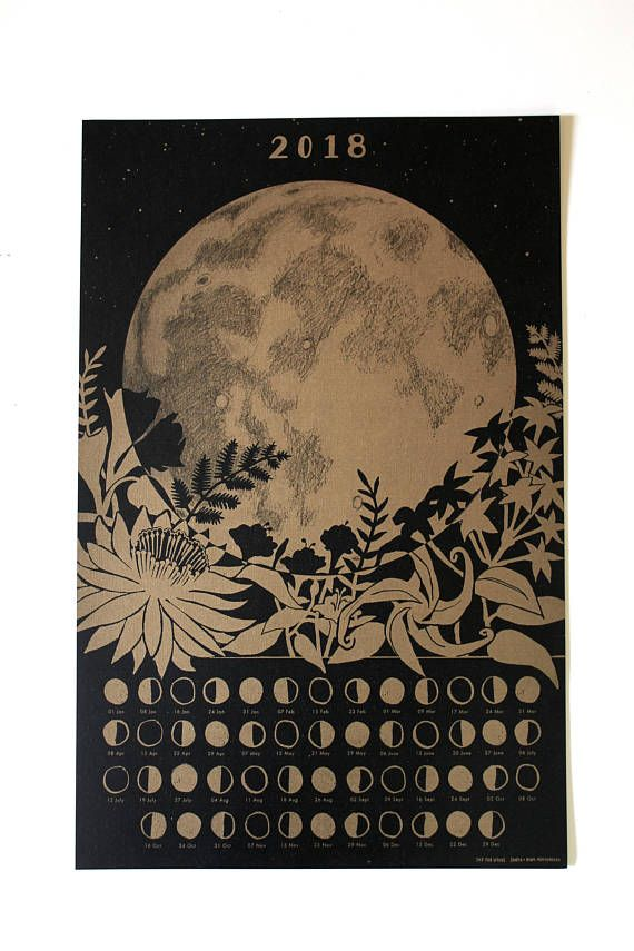 Secret Garden: 2018 Lunar Calendar Poster, Wall Calendar, Moon Phase