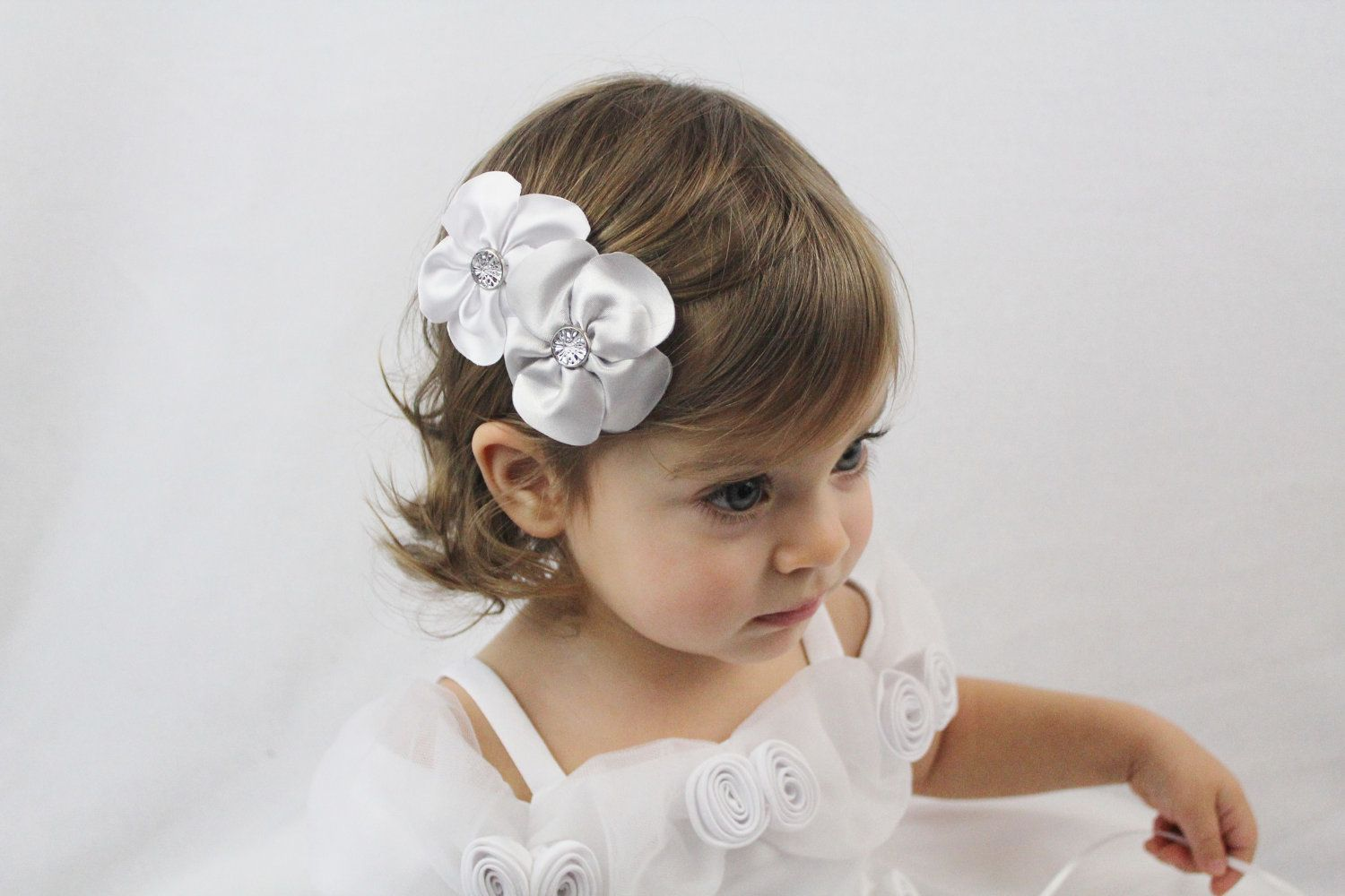 White and Silver Flowers Hair Bow - Wedding Flower Girl Hair Bow ...