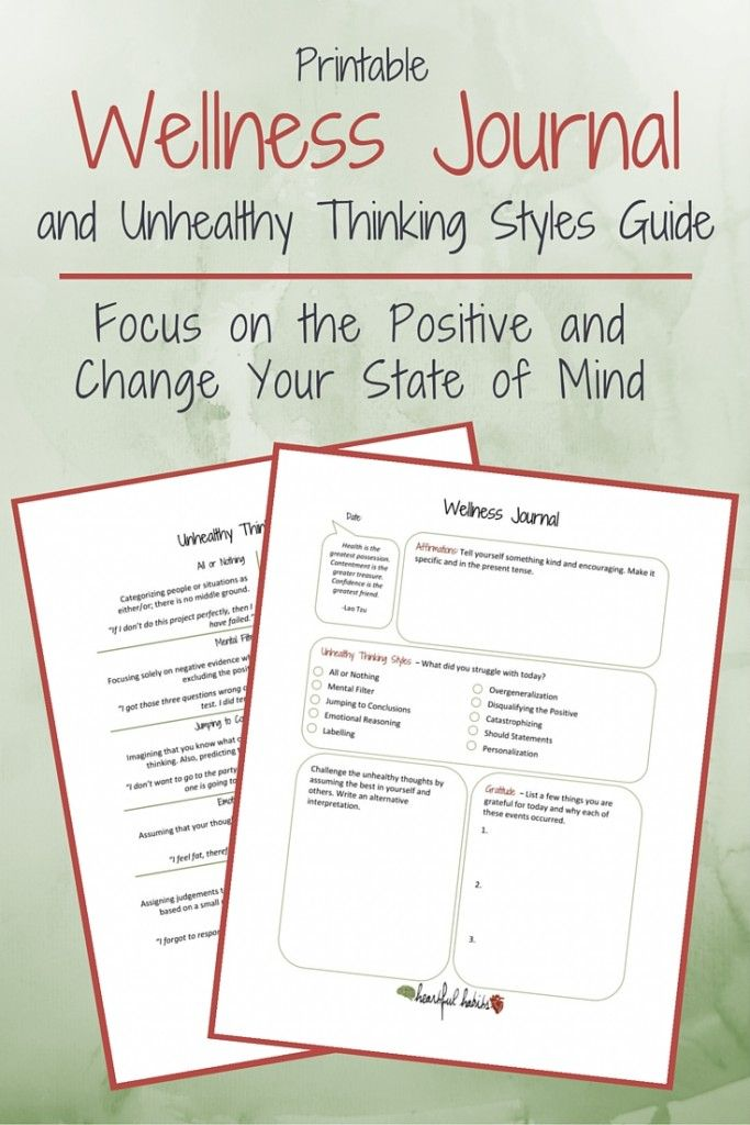 Printable Wellness Journal And Thinking Styles Guide Coaching Wellness Plan Anxiety Journal