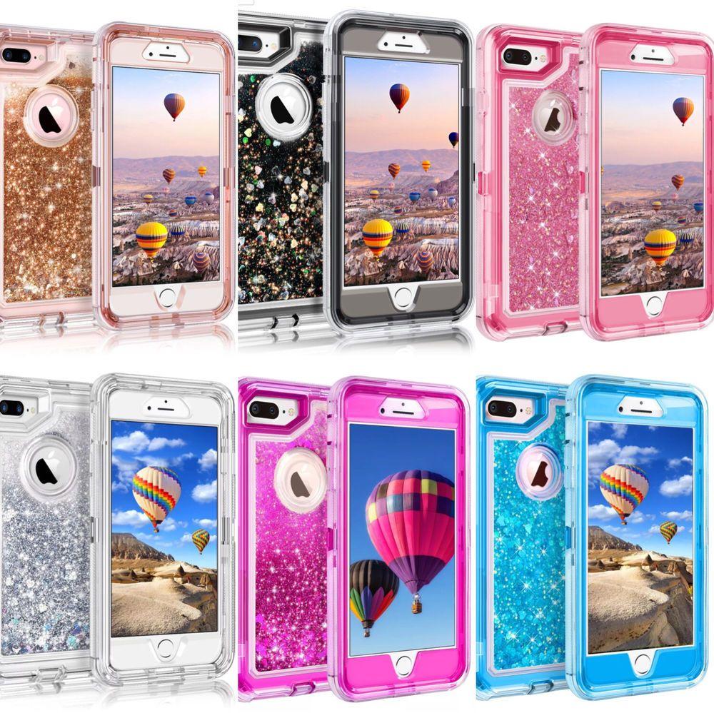 for iphone 8 plus 7 plus 6 glitter liquid defender case belt clip