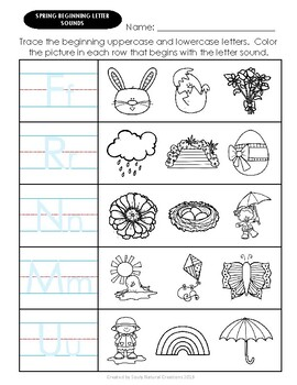 Beginning Letter Sounds SPRING Worksheets in 2020 (With