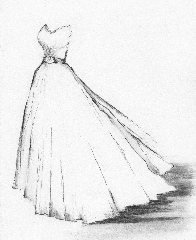 Custom wedding dress potrait by dianebronstein on etsy 185 00