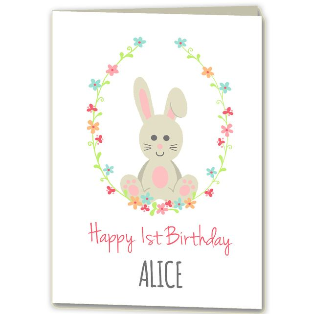 Personalised Rabbit Bunny 1st 2nd 3rd Birthday Card For Girl