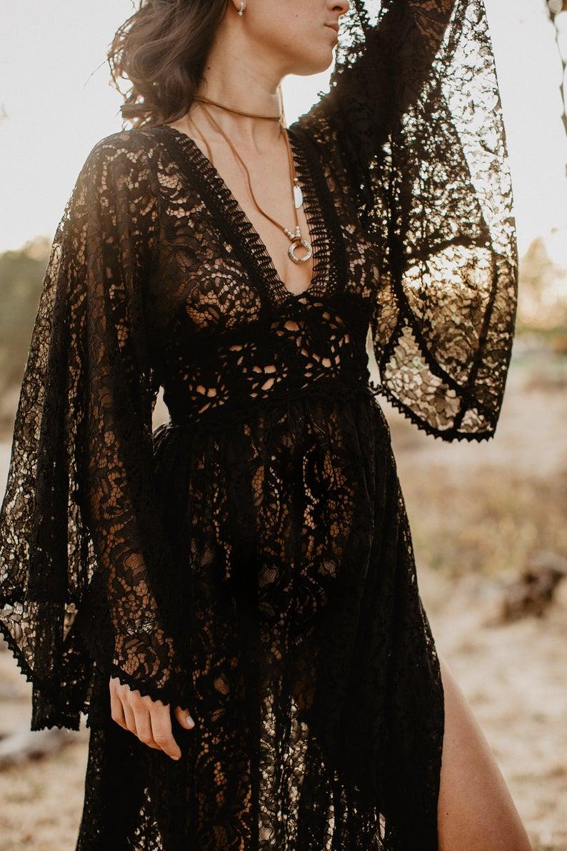 Boho Dress White Dress Wedding Dress Black Dress Etsy Black Lace Boho Dress White Boho Dress Lace Dress Vintage [ 1191 x 794 Pixel ]