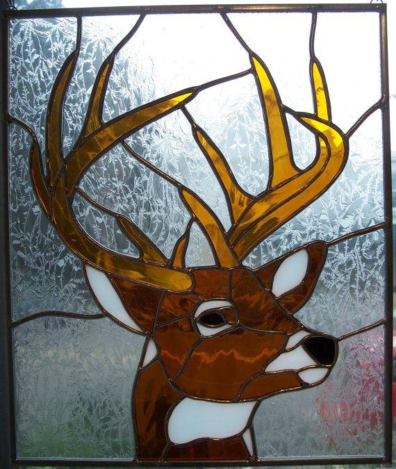 Stained glass deer buck vitraux faux vitrail et for Faux vitrail sur miroir