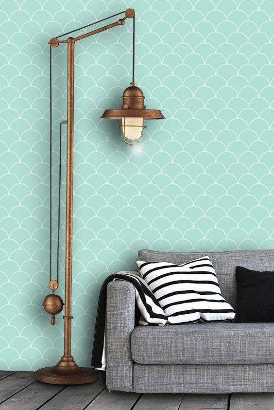 Scallop Pattern Wallpaper In Mint Removable Vinyl L Stick No Glue
