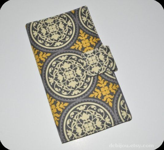 Custom Made Fabric Travel Wallet. Antique Yellow And Grey Scrollwork Print. Medallion Print