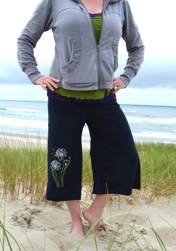 b93223b2db793 Organic Cotton Hemp Jersey Knit Yoga Pants Capri Culottes Wide Leg Gaucho  Palazzo Dandelion or Fern Embroidery Made to Order Plus Size Too