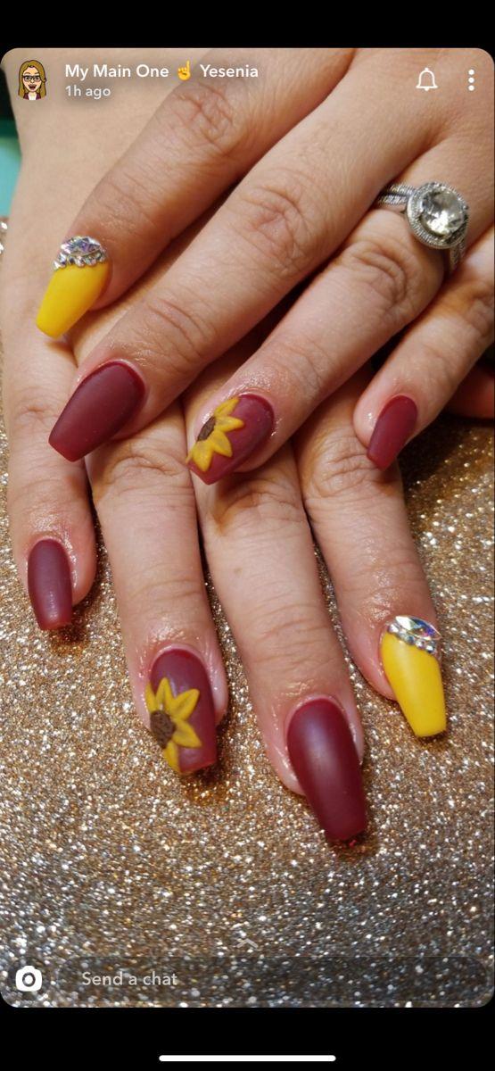 November Nail Set Maroon Nails Sunflower Nails Nails
