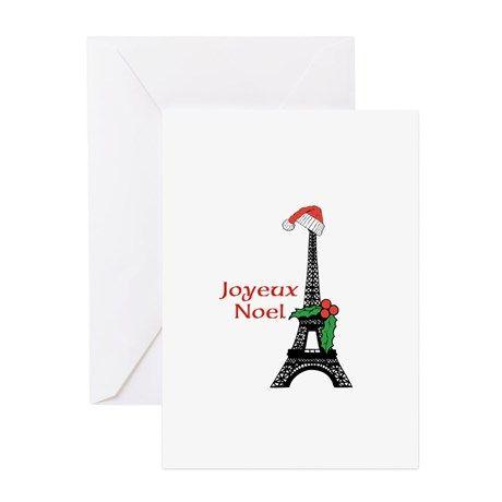 Whimsical Eiffel Tower Paris Joyeux Noel Greeting on CafePress.com