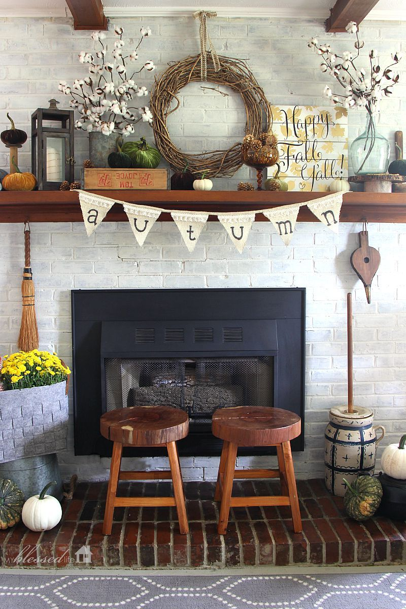 diy fall mantel decor ideas to inspire rustic fall decor. Black Bedroom Furniture Sets. Home Design Ideas