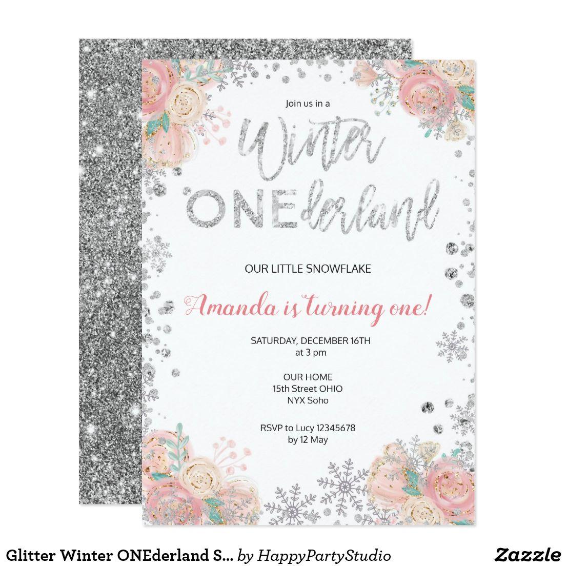 Glitter Winter Onederland Snow Birthday Invite Zazzle Com Birthday Invitations Winter Onederland Birthday Party Snowflake Invitations