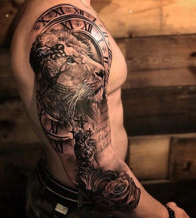 25 Inspiring Tattoo For Men Look Eye Catching Tattoos Lion Shoulder Tattoo Lion Tattoo Sleeves