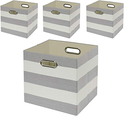 Amazon Com Storage Bins Storage Cubes 11 11 Collapsible Storage Boxes Containers Organizer Baskets For Nursery In 2020 Storage Bins Cube Storage Fabric Storage Cubes