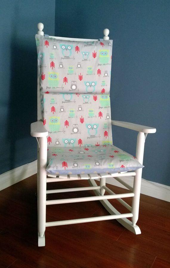 Rocking Chair Cushion Blue Polka Dot Taupe by RockinCushions