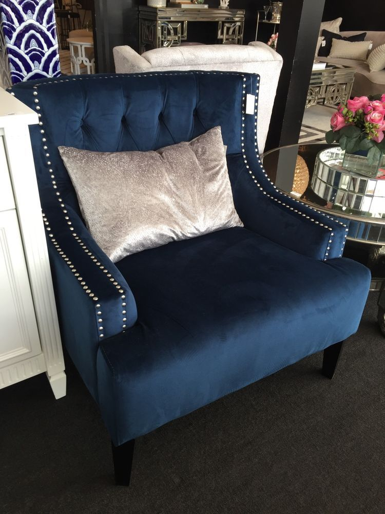 Peachy Details About Navy Fabric Sloane Arm Chair Buttoned Back Alphanode Cool Chair Designs And Ideas Alphanodeonline