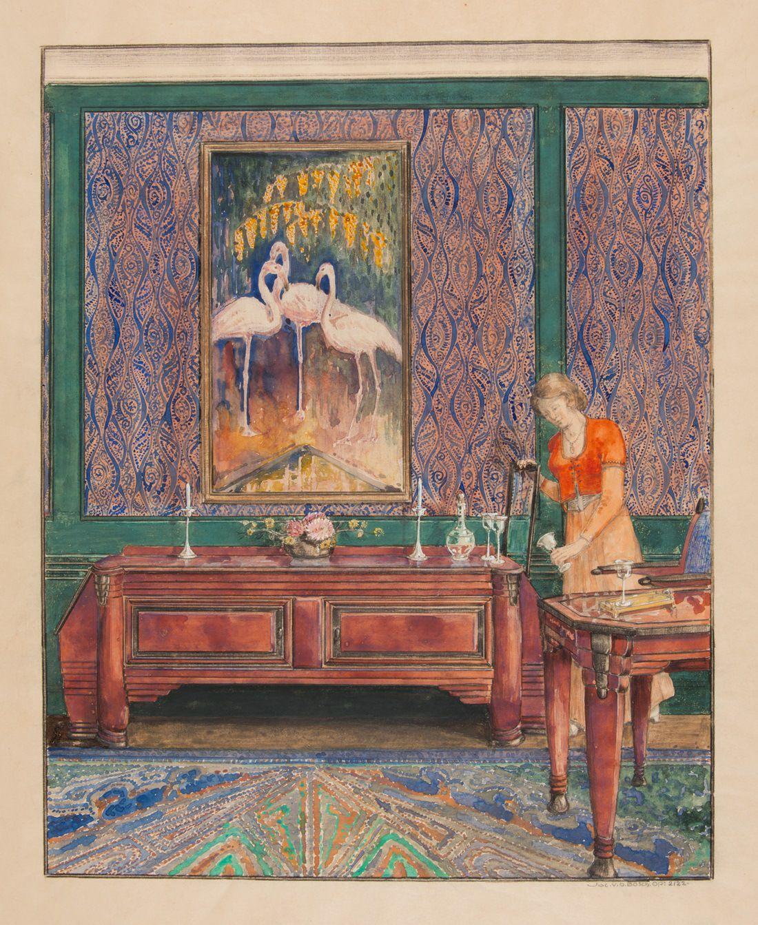 Jac. van den Bosch, ontwerptekening voor interieur met buffet en ...