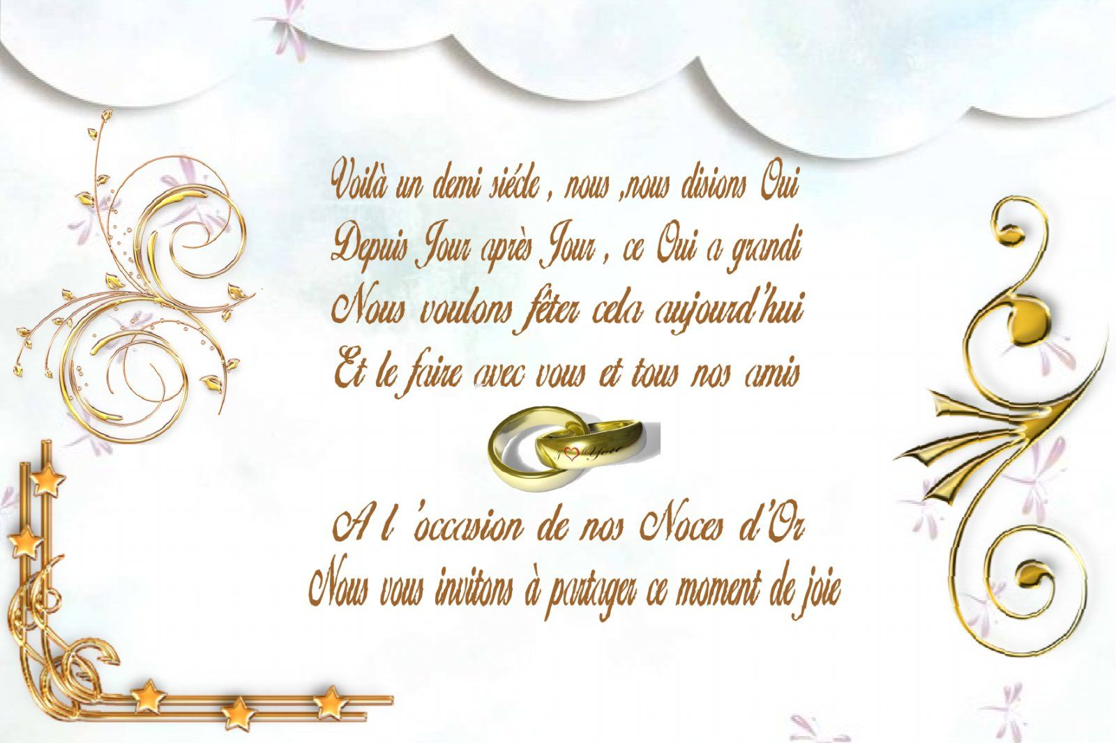1000 images about noces dor on pinterest cards mariage and vintage - Texte Invitation 50 Ans De Mariage Noces D Or